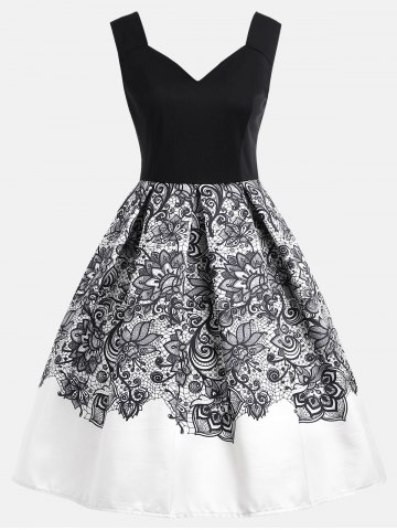 Outfit High Waisted Flower A Line Dress
