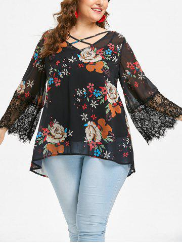 Chic Plus Size Floral Chiffon Blouse and Slip Top