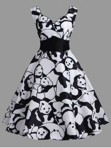 Discount High Waisted Panda Print Vintage Dress
