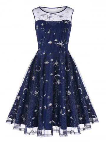 Affordable Retro Moon Stars Embroidered Skater Dress
