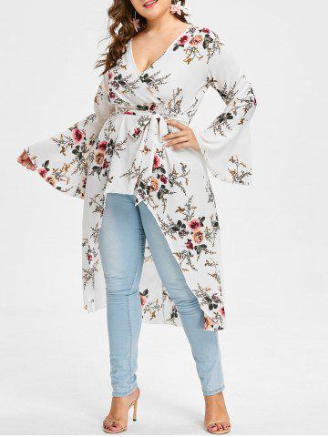 Fashion Plus Size High Low Floral Blouse