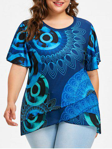 Outfits Plus Size Overlap Ethnic Print T-shirt