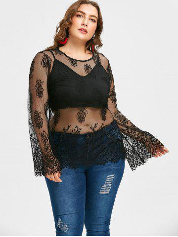 5550622693bdd Plus Size Sheer Lace Blouse with Crop Camisole