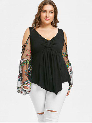 Plus Size V Neck Bell Sleeve Blouse