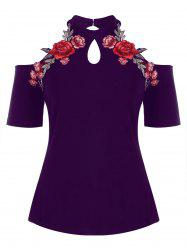 Plus Size Open Shoulder Embroidery T-shirt -