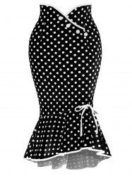 Polka Dot Midi Fishtail Jupe -