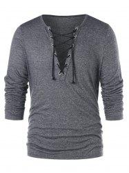 Lace Up Plunging T-shirt -