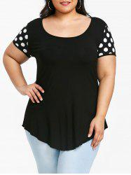 Plus Size Polka Dot Open Back T-shirt -