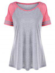 Open Shoulder Color Block T-shirt - Xl