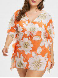 V Neck Plus Size Floral Print Cover Up -