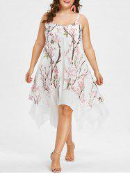 Plus Size Flower Handkerchief Dress -