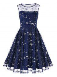 Retro Moon Stars Embroidered Skater Dress -