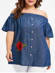 Corsage avec Motif Chambray Floral Grande-Taille -