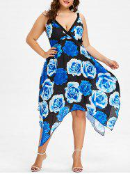 Plus Size Rose Print Handkerchief Dress - Blueberry Blue - 2x
