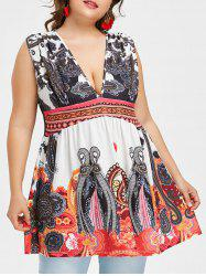 Plus Size Empire Waisted Exotic Print Tank Top -