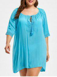 Fringe Insert Plus Size Cut Out Cover Up -