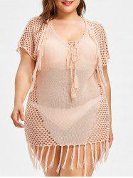 Crochet Plus Size Lace Up Cover Up -