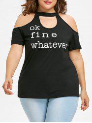 Plus Size Letter Print Cold Shoulder T-shirt -
