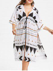 Side Slit Plus Size Geometric Pattern Cover Up -