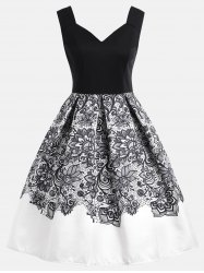 High Waisted Flower A Line Dress -