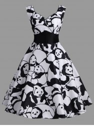 High Waisted Panda Print Vintage Dress -