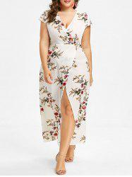 Cap Sleeve Plus Size Floral Print Maxi Dress -
