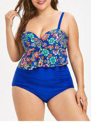 Peplum Floral Plus Size Ruched Tankini -