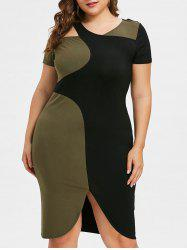 Color Block Plus Size Cutout Work Dress -
