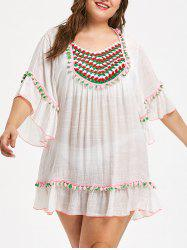 Plus Size Sheer Pompom Trim Tunic Cover Up -