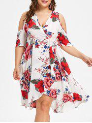 Cold Shoulder Plus Size Floral Surplice Dress -