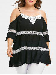 Plus Size Contrast Lace Trim Cold Shoulder Blouse -