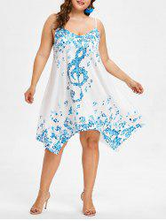 Plus Size Musical Notes Handkerchief Dress -