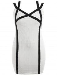 Plus Size Two Tone Ribbed Bodycon Dress -