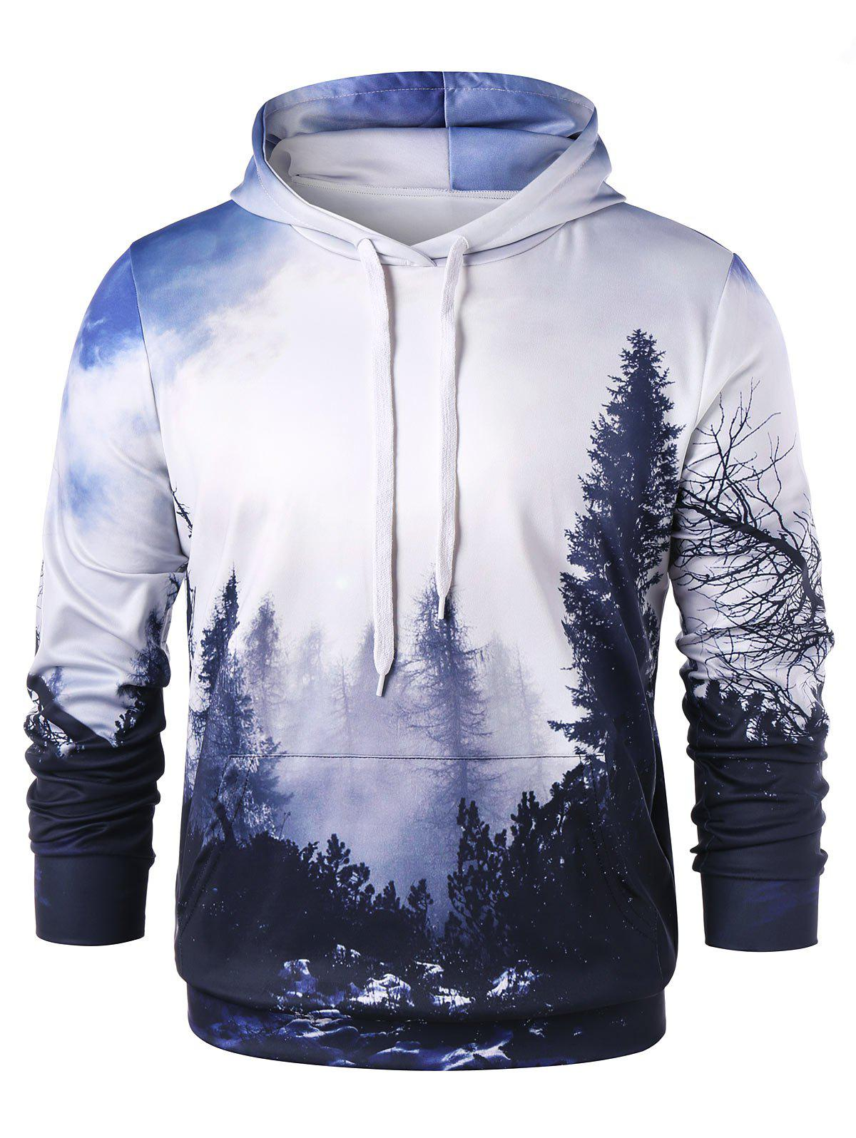 New 3D Forest Print Pullover Hoodie