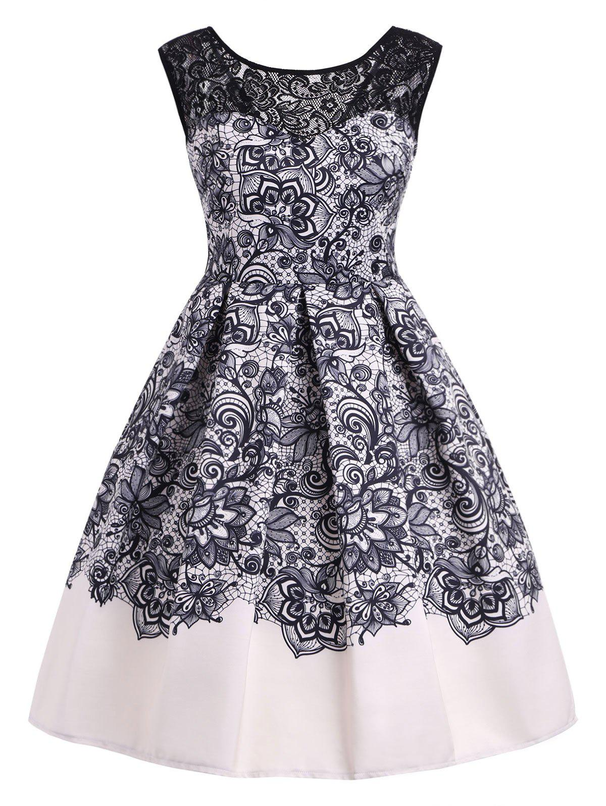 Online Lace Panel A Line Vintage Dress