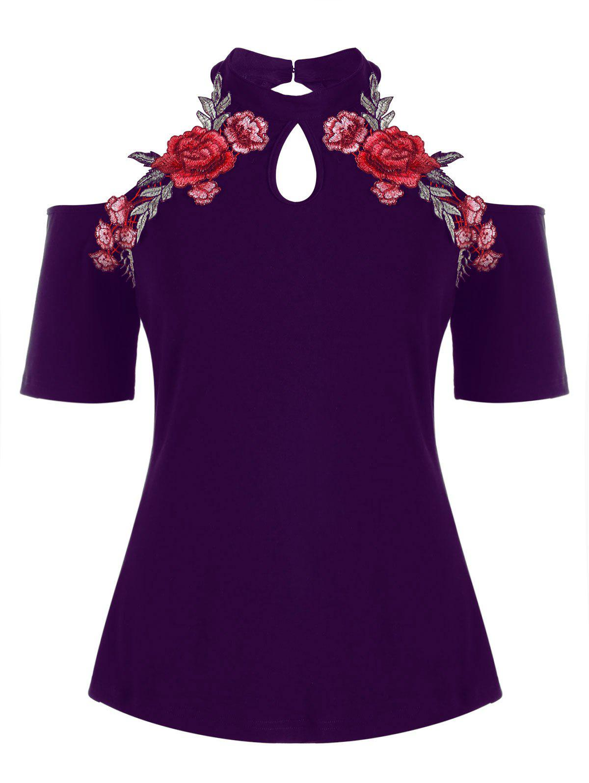 Chic Plus Size Open Shoulder Embroidery T-shirt