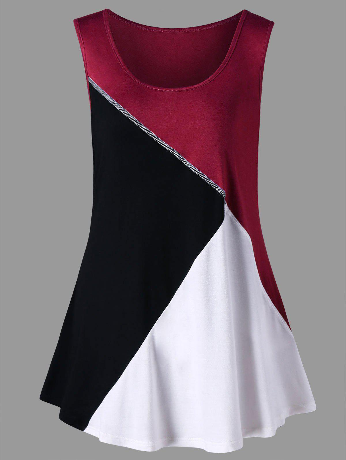 1bbdf78649 25% OFF] Plus Size Color Block Scoop Neck Tank Top | Rosegal