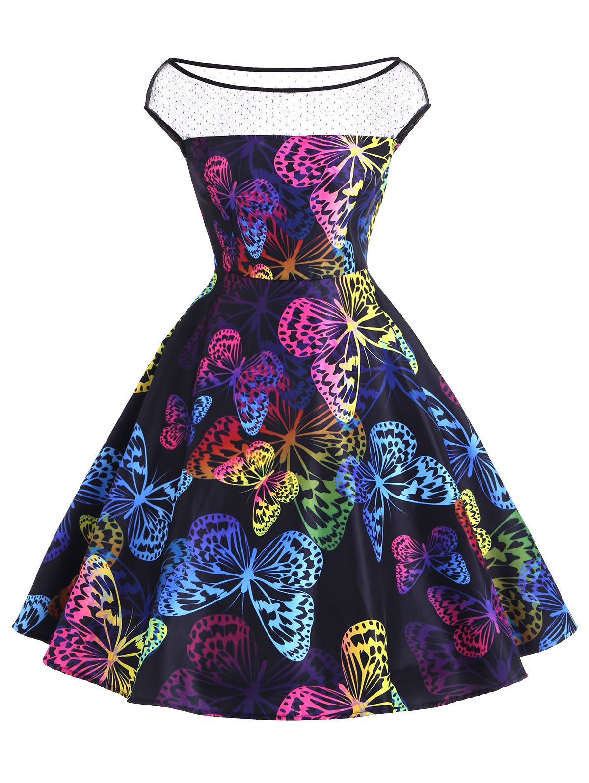 Chic Butterfly Print Vintage Flare Dress