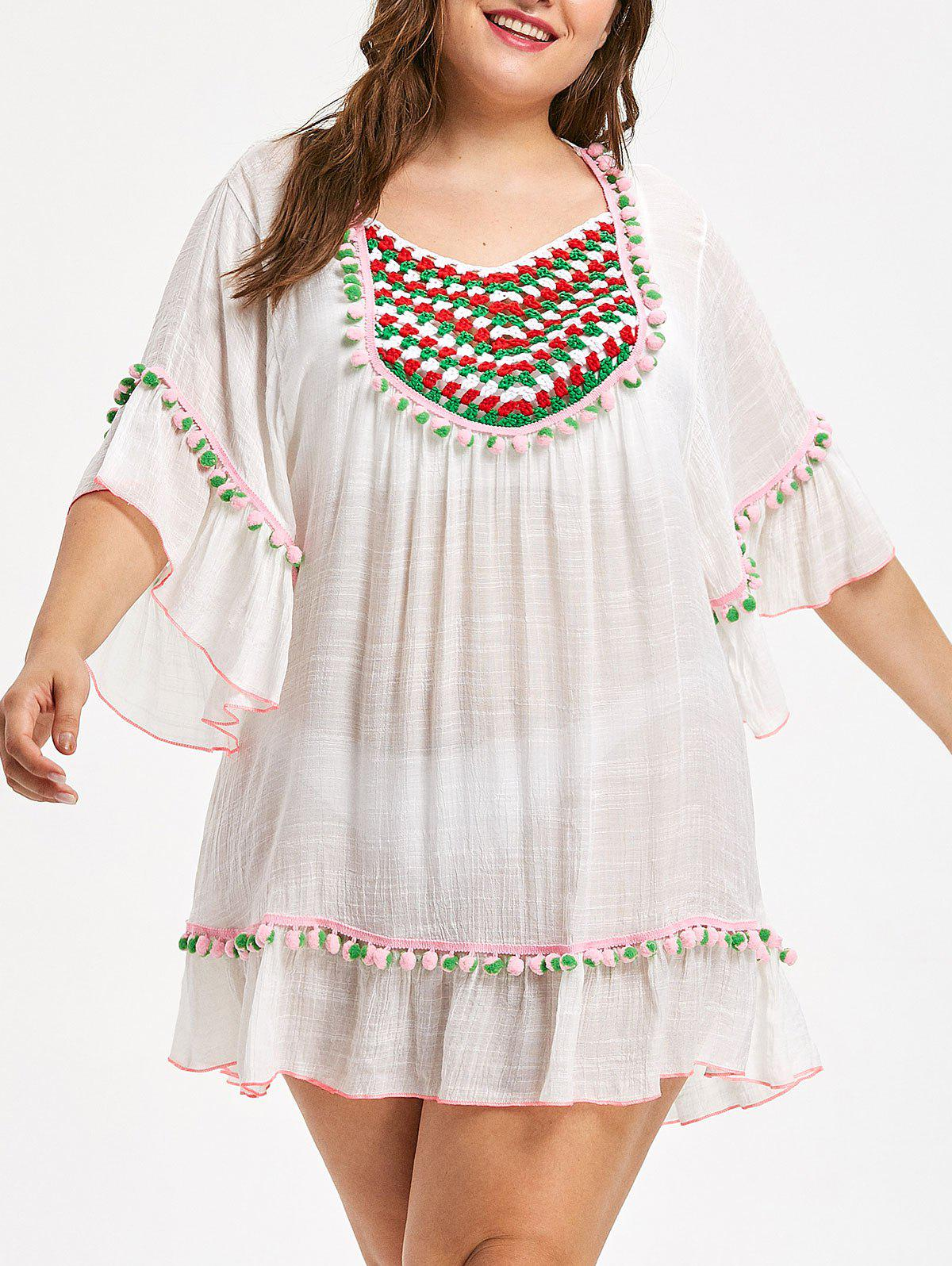 Affordable Plus Size Sheer Pompom Trim Tunic Cover Up
