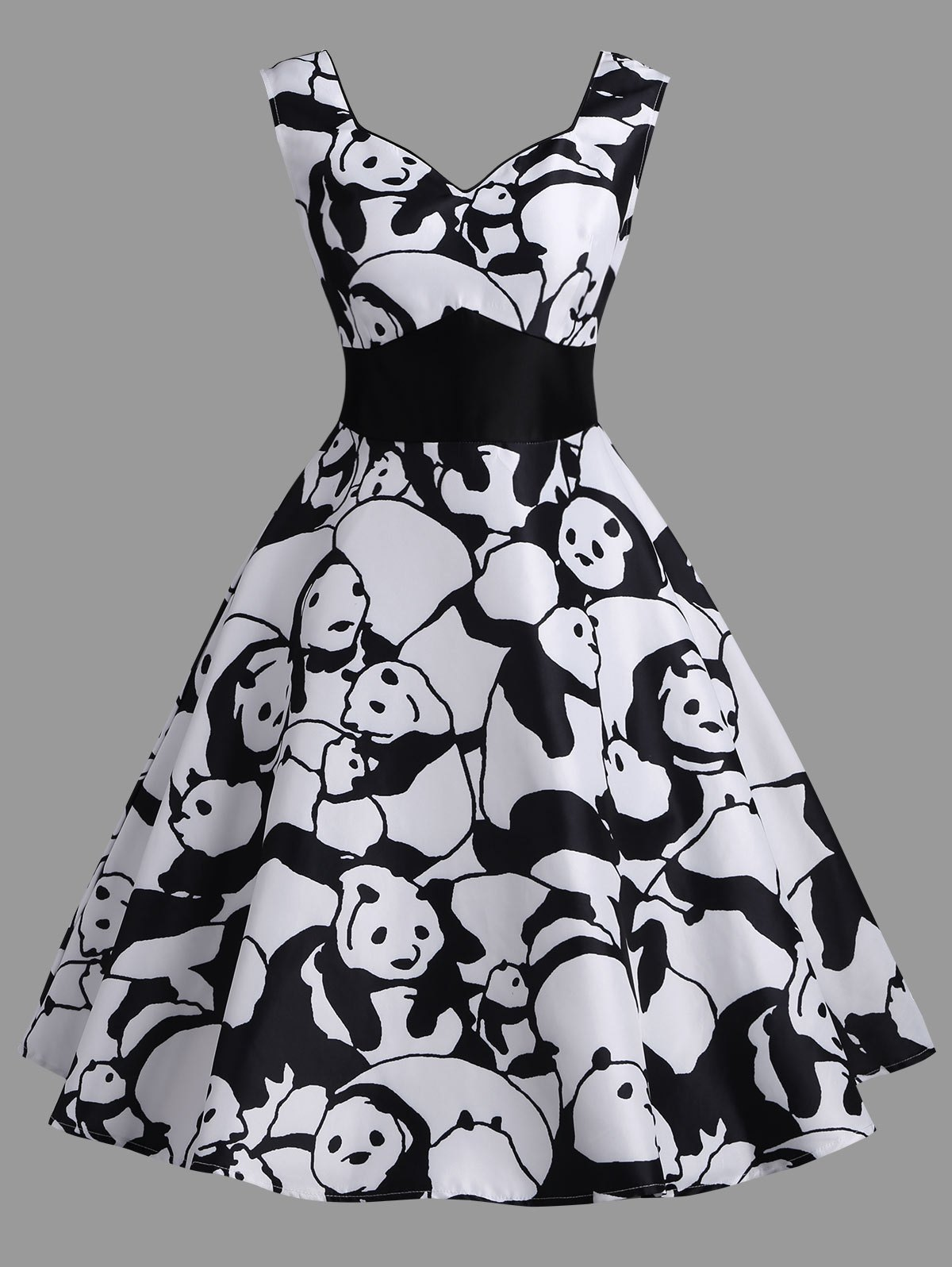 Online High Waisted Panda Print Vintage Dress