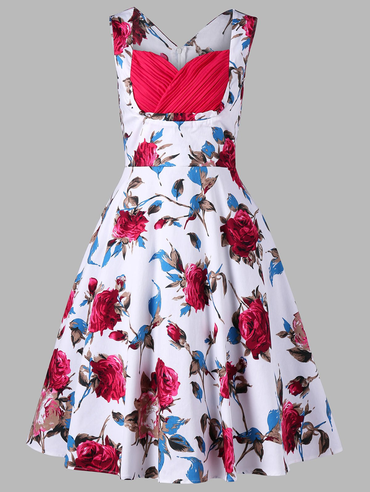 Robe Pin-Up Imprimée Florale Sans Manches