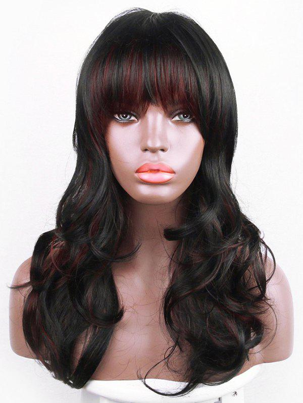 Cheap Long Full Bang Colormix Slightly Curly Synthetic Wig