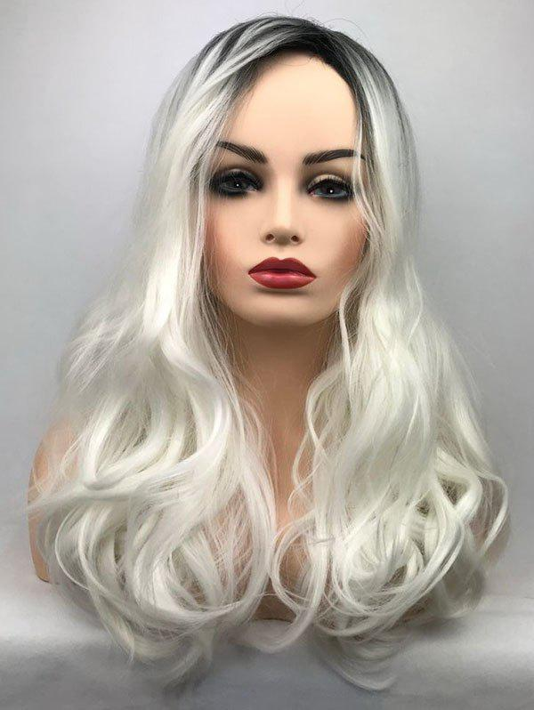 Unique Long Side Bang Wavy Colormix Synthetic Party Wig