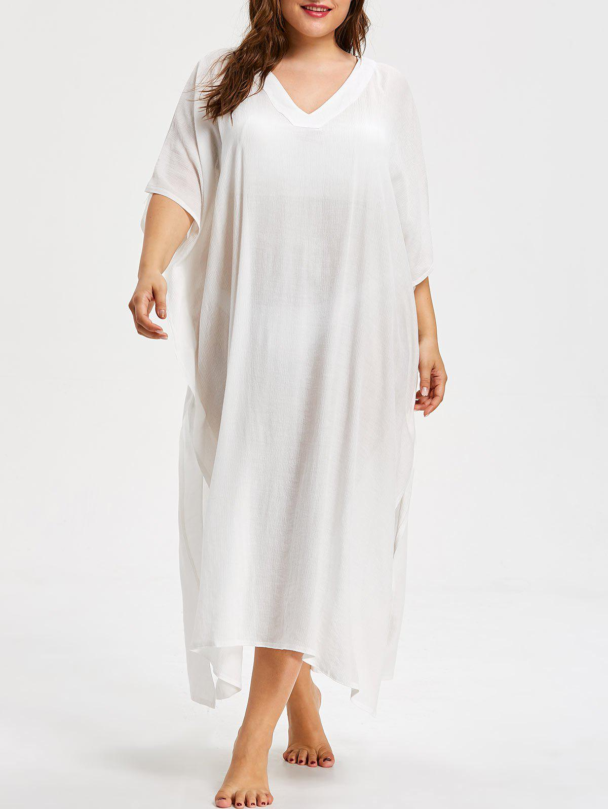 Cheap See Through Plus Size V Neck Cover Up Dress