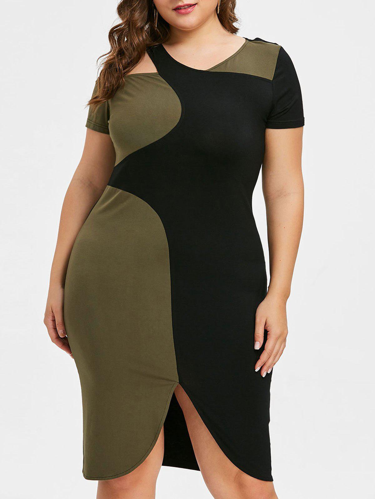 Discount Color Block Plus Size Cutout Work Dress