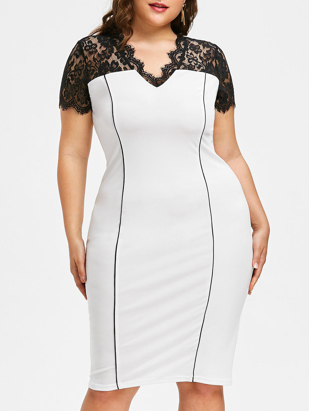 Store Plus Size Work Sheath Dress with Lace Detail