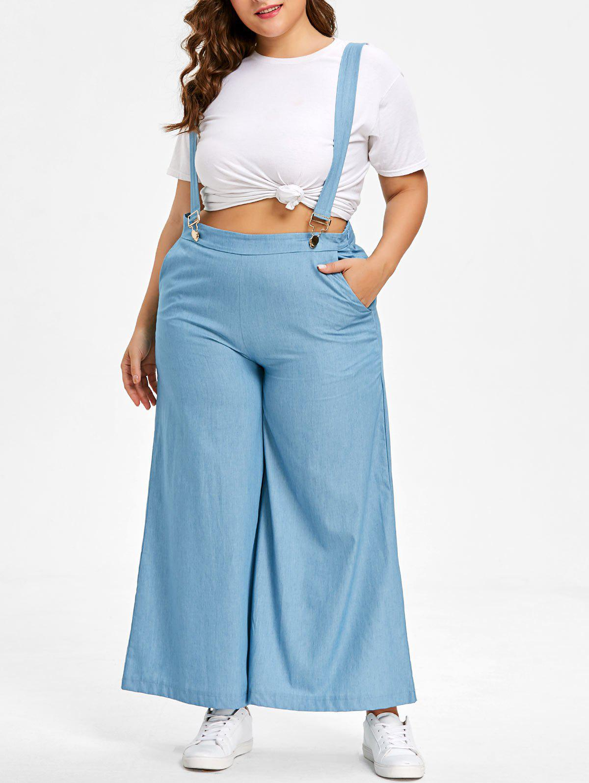 Trendy Plus Size Chambray Wide Leg Suspender Pants