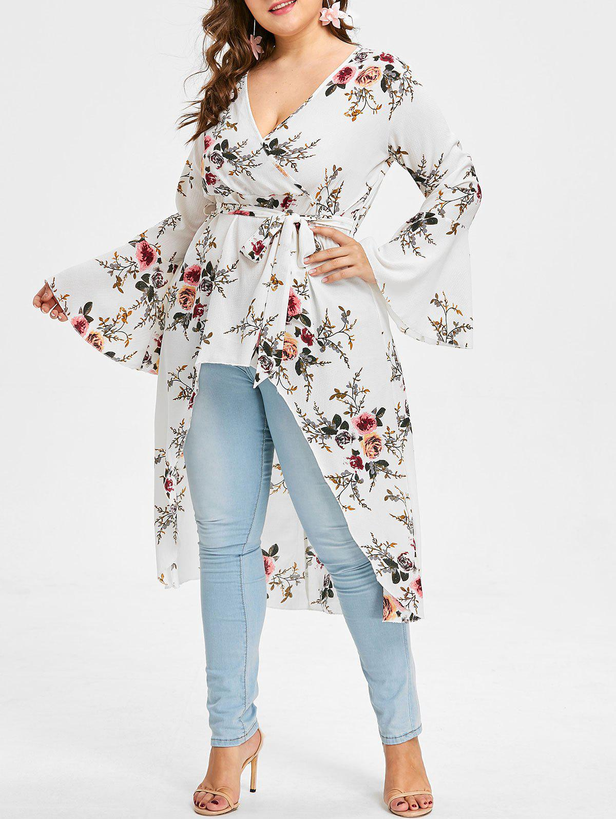 Unique Plus Size High Low Floral Blouse