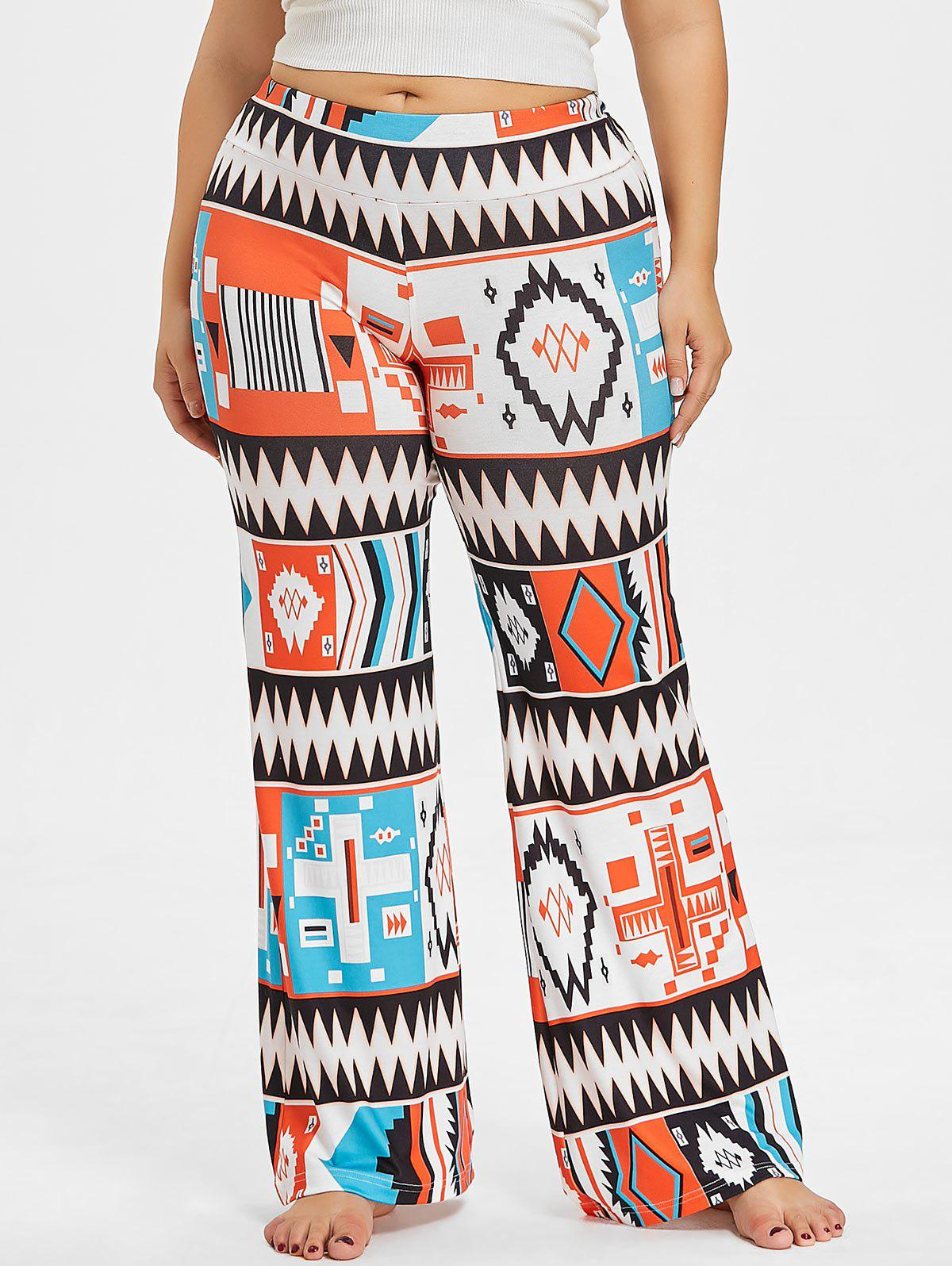 Fancy Plus Size Geometric Palazzo Pants