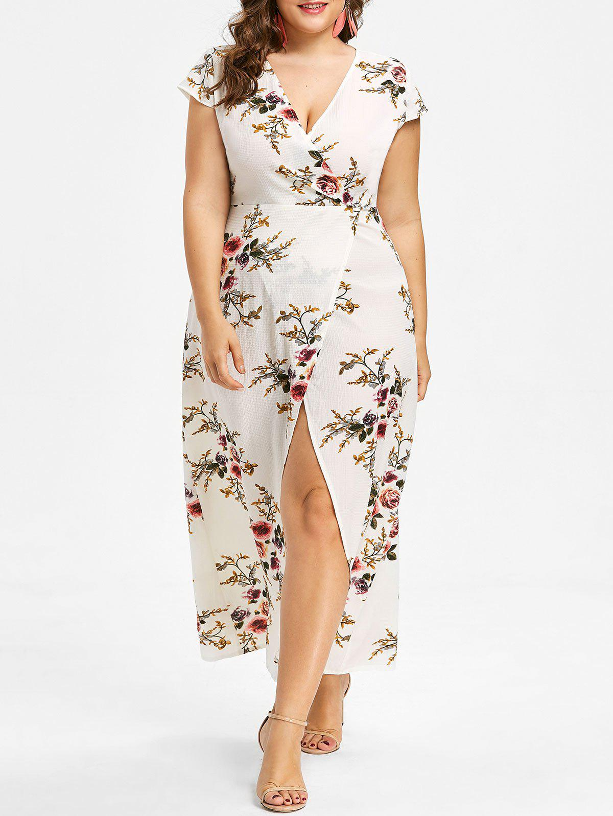 Discount Cap Sleeve Plus Size Floral Print Maxi Dress